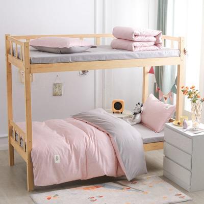2021新款13070全棉纯色学生宿舍三件套 155*205cm被套床单款三件套 素浅粉