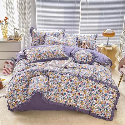 2021新款全棉13372韩版四件套 1.2m床单款三件套 漫之花