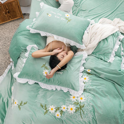 2019新款雛菊寶寶絨系列四件套 2.0m床單款 雛菊綠
