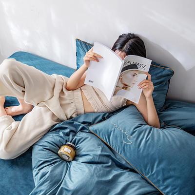 2019新款麗絲絨潮愛系列四件套 1.8m床單款四件套 孔雀藍(寶藍色)