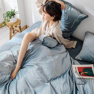 2019新款麗絲絨潮愛系列四件套 1.8m床單款四件套 淺藍色