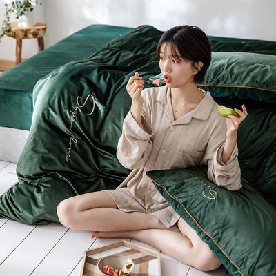 2019新款麗絲絨潮愛系列四件套 1.8m床單款四件套 優雅綠(祖母綠)