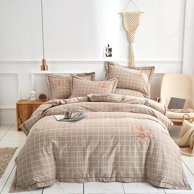 60长绒棉磨毛绣花四件套 1.5m(5英尺)床 王者风范 驼色