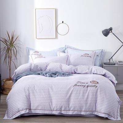 时尚全棉50s高密绣花四件套 1.5m(5英尺)床 休闲时光--紫色