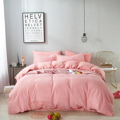 9020水洗棉(无印良品风格)四件套 1.5m(5英尺)床 小格子(粉)