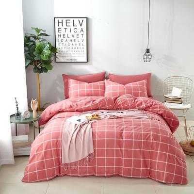 9020水洗棉(无印良品风格)四件套 1.5m(5英尺)床 摩卡沙龙---红