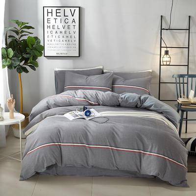 9020水洗棉(无印良品风格)四件套 1.8m(6英尺)床 夜华--灰