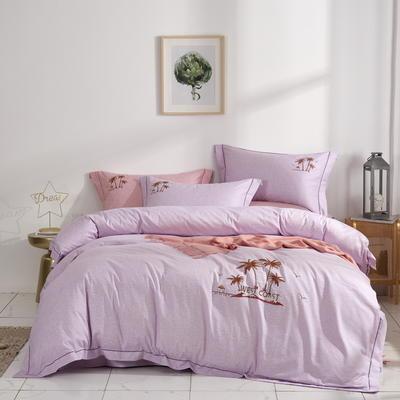 时尚全棉50s高密绣花四件套 1.5m(5英尺)床 海南风情--紫