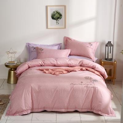时尚全棉50s高密绣花四件套 1.8m(6英尺)床 优雅风韵--豆沙