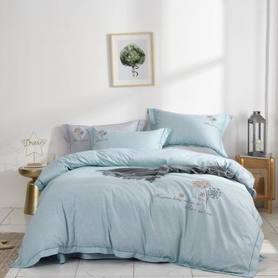 时尚全棉50s高密绣花四件套 1.5m(5英尺)床 优雅风韵--蓝