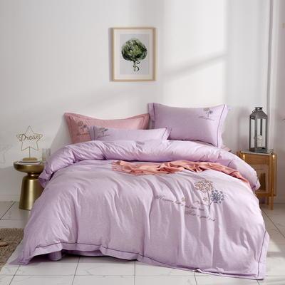 时尚全棉50s高密绣花四件套 1.5m(5英尺)床 优雅风韵--紫