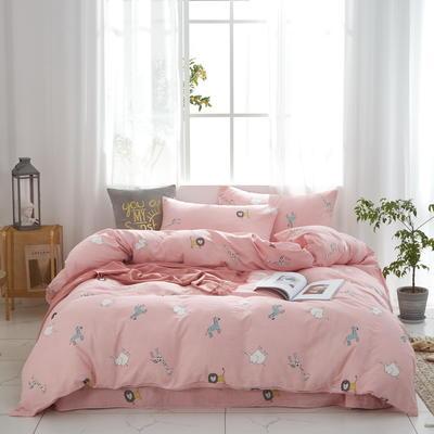 全棉双层纱四件套 1.5m(5英尺)床 丛林密友--粉