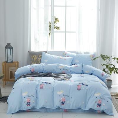 全棉双层纱四件套 1.5m(5英尺)床 乔治--蓝