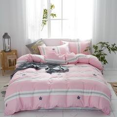 2019新款 全棉双层纱四件套 1.2m(4英尺)床 星格--粉