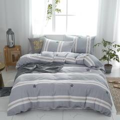 2019新款 全棉双层纱四件套 1.5m(5英尺)床 星格--灰