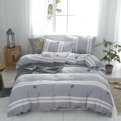 全棉双层纱四件套 1.5m(5英尺)床 星格--灰