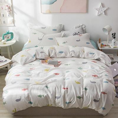 全棉双层纱四件套 1.5m(5英尺)床 好多鱼