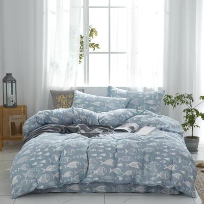 全棉双层纱四件套 1.5m(5英尺)床 珊瑚鱼--蓝