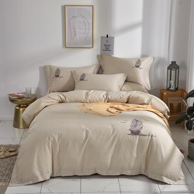时尚全棉50s高密绣花四件套 1.5m(5英尺)床 一帆风顺--浅驼