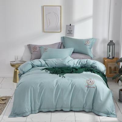 时尚全棉50s高密绣花四件套 1.8m(6英尺)床 英伦时尚--蓝