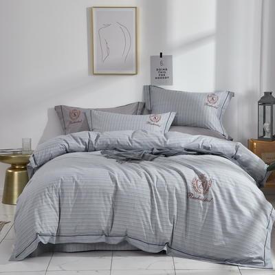 时尚全棉50s高密绣花四件套 1.5m(5英尺)床 英伦时尚--蓝灰