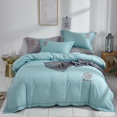 时尚全棉50s高密绣花四件套 1.5m(5英尺)床 英伦时尚--水蓝