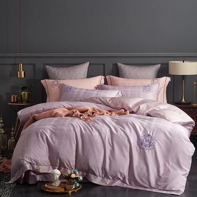 2019新款宝格丽长绒棉提花套件 1.5m-1.8m 紫灰