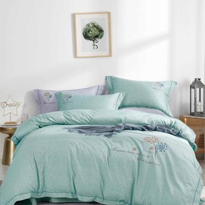 时尚全棉50s高密绣花四件套 1.5m(5英尺)床 优雅风韵-绿
