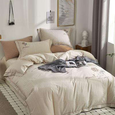 时尚全棉50s高密绣花四件套 1.5m(5英尺)床 优雅风韵-浅驼