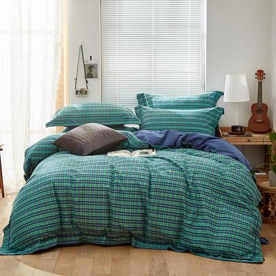 2019新款长绒棉磨毛四件套 1.5m-1.8m床单款 曼克绿