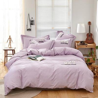 2019新款全棉色纺磨毛毛巾绣四件套 1.5m-1.8m床单款 幸运兔--优雅紫