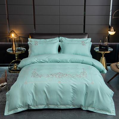 2020新款爆款緞條刺繡四件套 1.5m(5英尺)床單款 戴維絲-碧綠