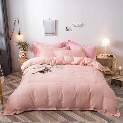 2020新款爆款緞條刺繡四件套 1.5m(5英尺)床單款 陌上花開-粉玉