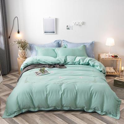 2020新款爆款緞條刺繡四件套 1.5m(5英尺)床單款 陌上花開-嫩綠