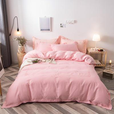 2020新款爆款緞條刺繡四件套 1.5m(5英尺)床單款 陌上花開-香妃粉
