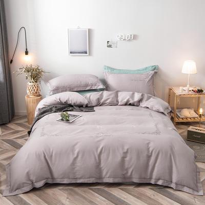 2020新款爆款緞條刺繡四件套 1.5m(5英尺)床單款 陌上花開-銀灰