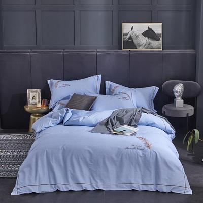 2020新款爆款全棉刺繡四件套-如夢紛飛 1.5m(5英尺)床單款 如夢紛飛-天空藍