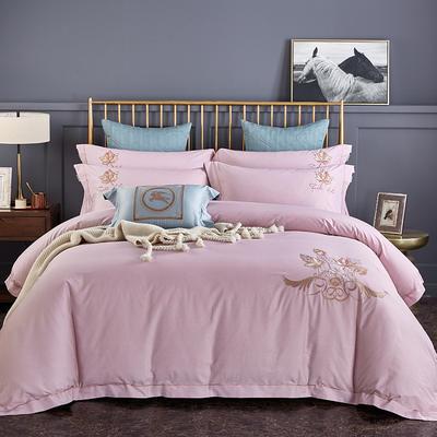 2020新品热款全棉刺绣四件套 枫之叶 1.5m(5英尺)床单款 枫之叶 豆沙