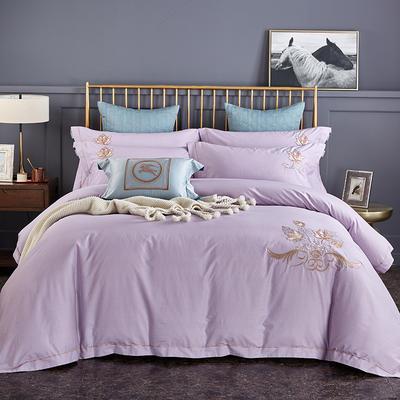 2020新品热款全棉刺绣四件套 枫之叶 1.5m(5英尺)床单款 枫之叶 浅紫
