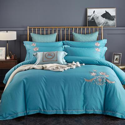 2020新品熱款全棉刺繡四件套 楓之葉 1.5m(5英尺)床單款 楓之葉 午夜藍