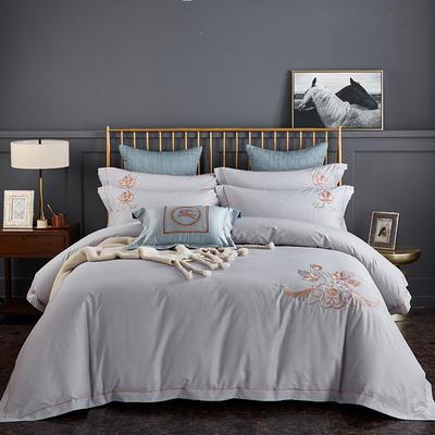 2020新品热款全棉刺绣四件套 枫之叶 1.5m(5英尺)床单款 枫之叶 米灰