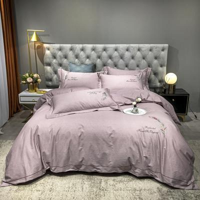 2020新款爆款全棉刺繡四件套-如夢紛飛 1.5m(5英尺)床單款 如夢紛飛-豆沙