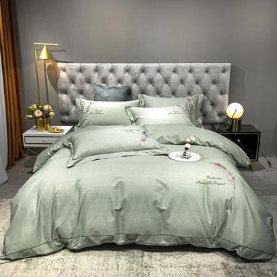 2020新款爆款全棉刺繡四件套-如夢紛飛 1.5m(5英尺)床單款 如夢紛飛-嫩綠
