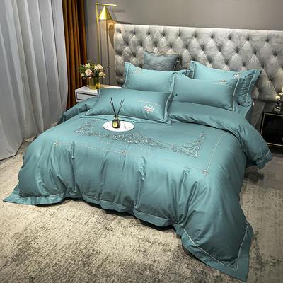 2020新款爆款緞條刺繡四件套 1.5m(5英尺)床單款 戴維絲-蔚藍