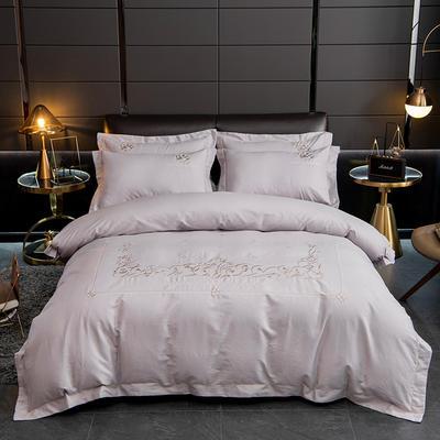 2020新款爆款緞條刺繡四件套 1.5m(5英尺)床單款 戴維絲-銀灰