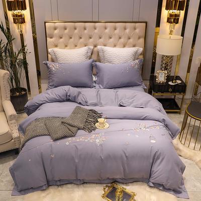 2020新款80支双股长绒棉磨毛四件套(爱巢系列) 1.8m(6英尺)床单款四件套 爱巢-丁香紫