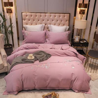 2020新款80支双股长绒棉磨毛四件套(爱巢系列) 1.5m(5英尺)床单款四件套 爱巢-粉紫