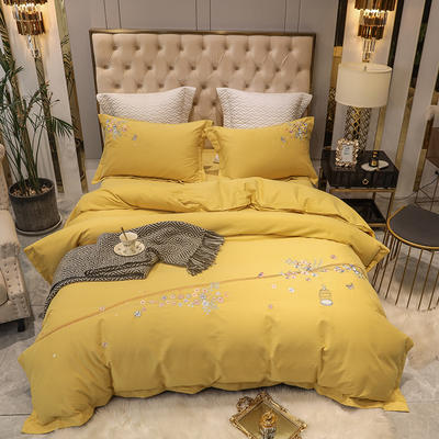2020新款80支双股长绒棉磨毛四件套(爱巢系列) 1.8m(6英尺)床单款四件套 爱巢-柠檬黄