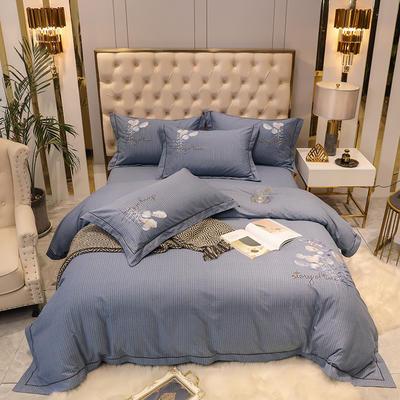 2020新款长绒棉磨毛刺绣四件套(爱在金秋系列) 1.8m(6英尺)床单款四件套 爱在金秋-蓝灰