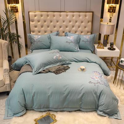 2020新款长绒棉磨毛刺绣四件套(爱在金秋系列) 1.8m(6英尺)床单款四件套 爱在金秋-嫩绿